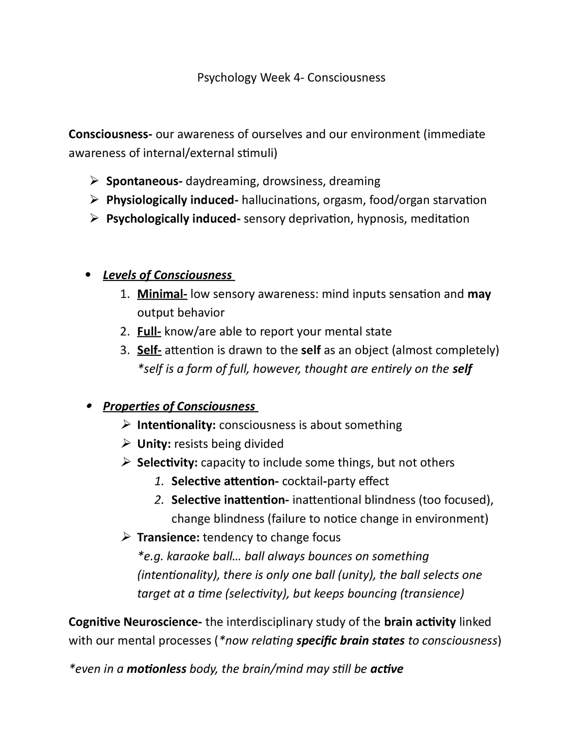 The Self Starving Brain >> Conciousness Chapter 3 Psy1101 Introduction To Psychology