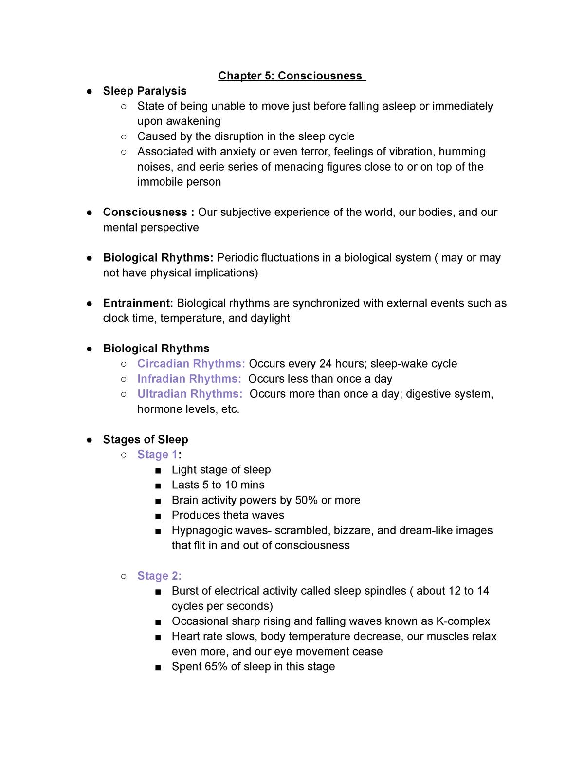 Chapter 5 Psychology - 10142: Introductory Psychology I