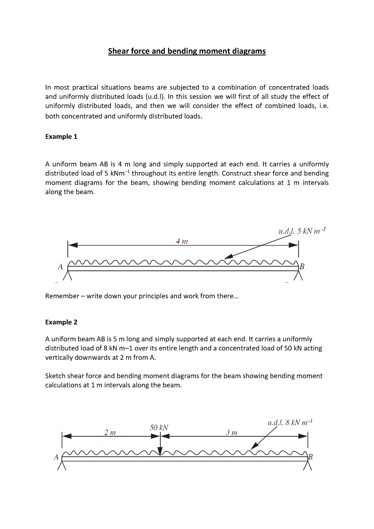 Draw The Shear Force And Bending Moment Diagrams Of The Beam Ab