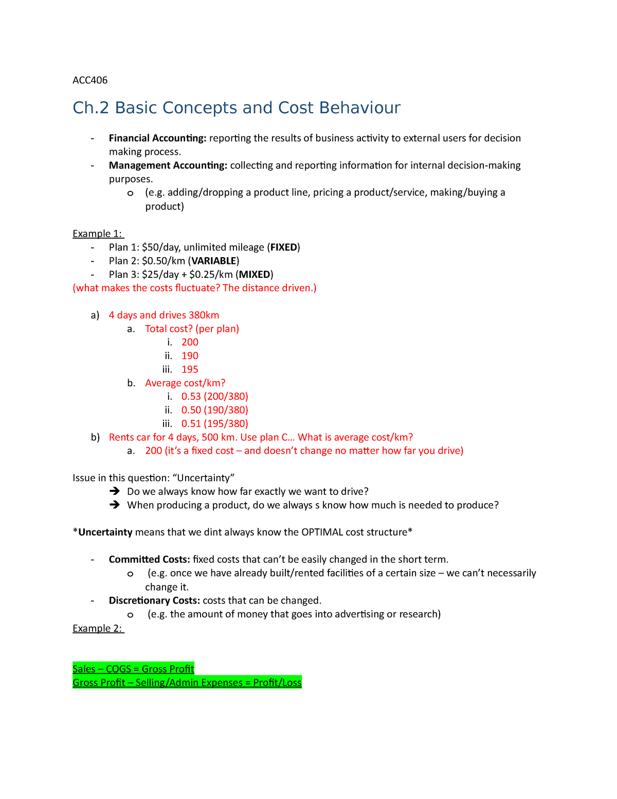 Ch  2 Basic Concepts and Cost Behaviour - ACC 406: Introductory