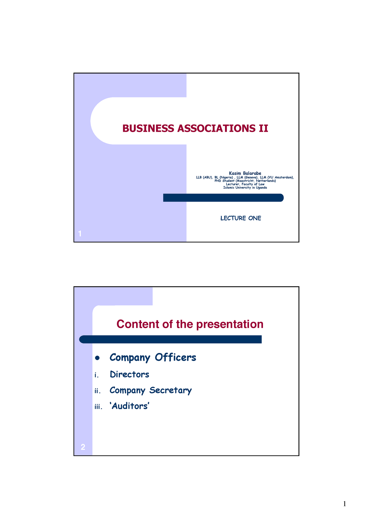 BA Lecture Notes - Law of Business Association LAW 3103