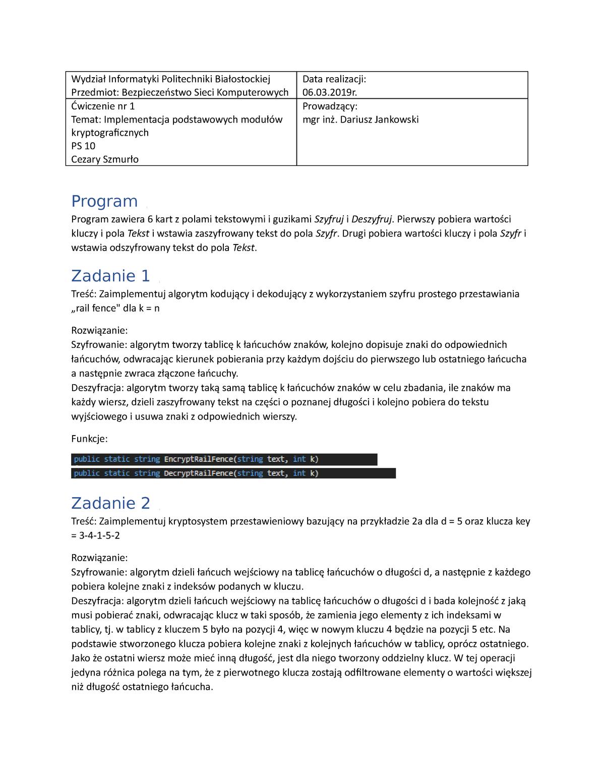 Bsk Sprawozdanie 1 Informatyka Eds1a1007 Pb Studocu