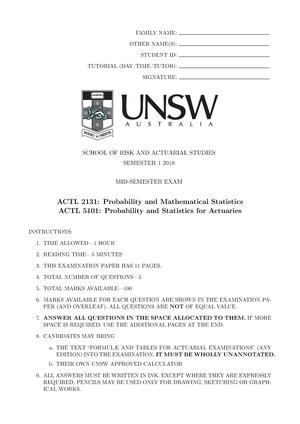 Exam 2018 - ACTL2131: Probability and Mathematical Statistics - StuDocu