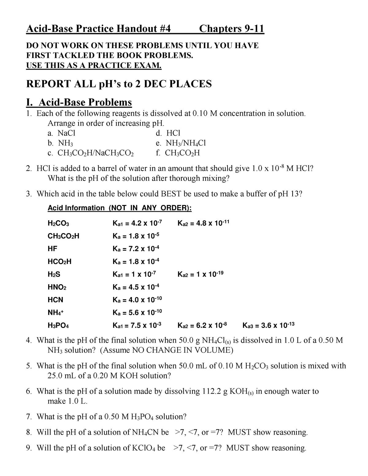 Acid-Base Practice Handout 4 - Practice Exam - CHEM 241: Modern