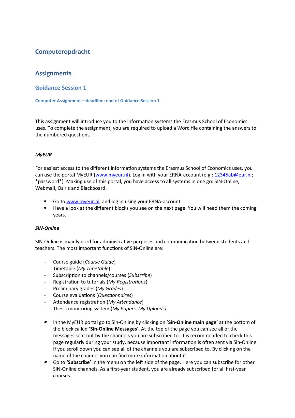 Seminar assignments - Computer opdracht - FEB11019