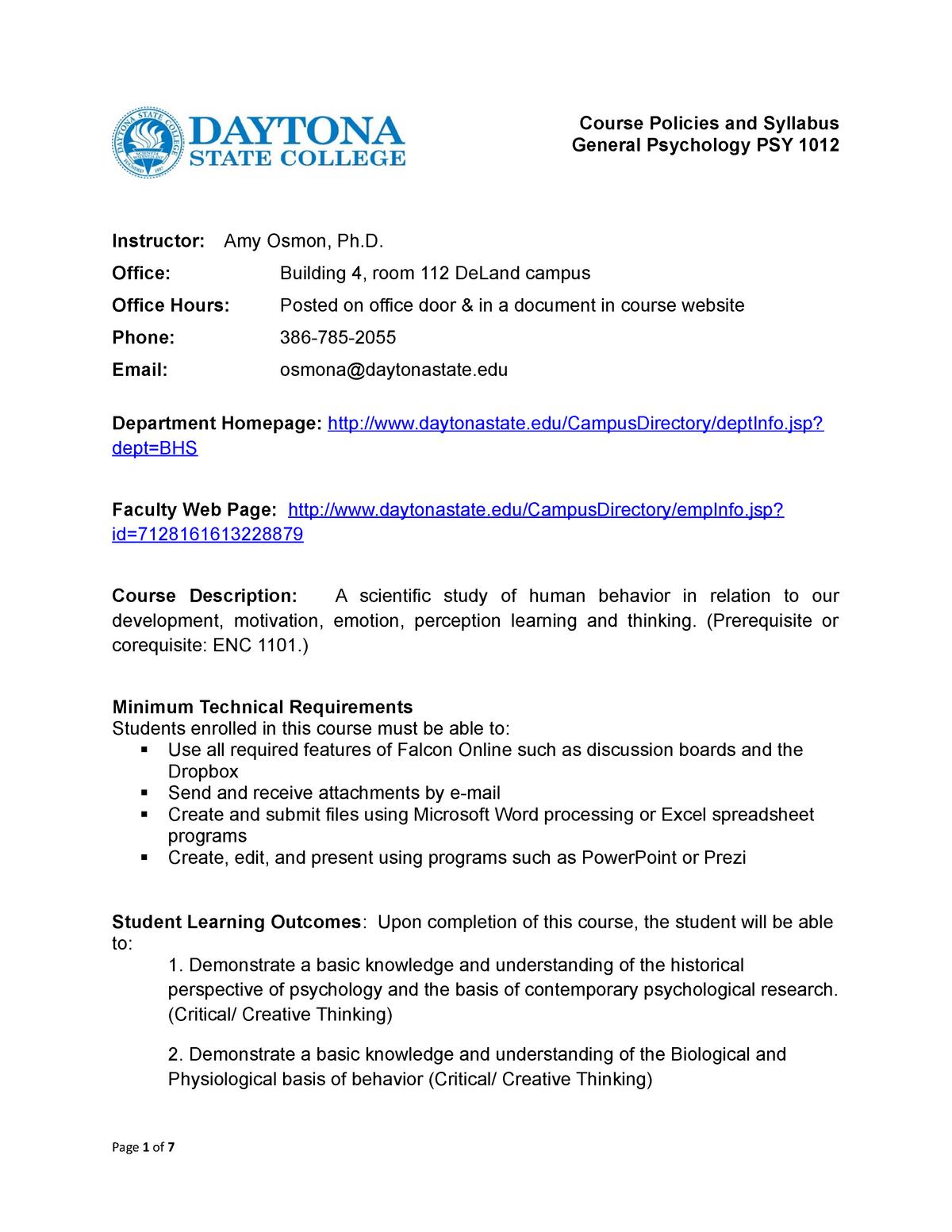 PSY1012 FA15 - Lecture notes Syllabi - PSY1012: General Psychology
