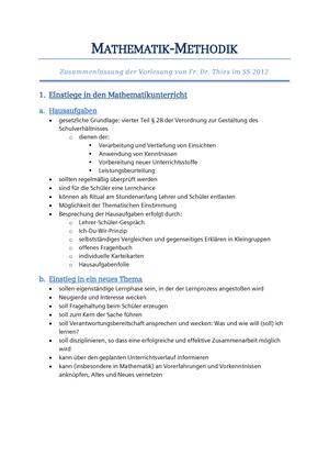 Mathematik Methodik Zusammenfassung Thies - Mathematik