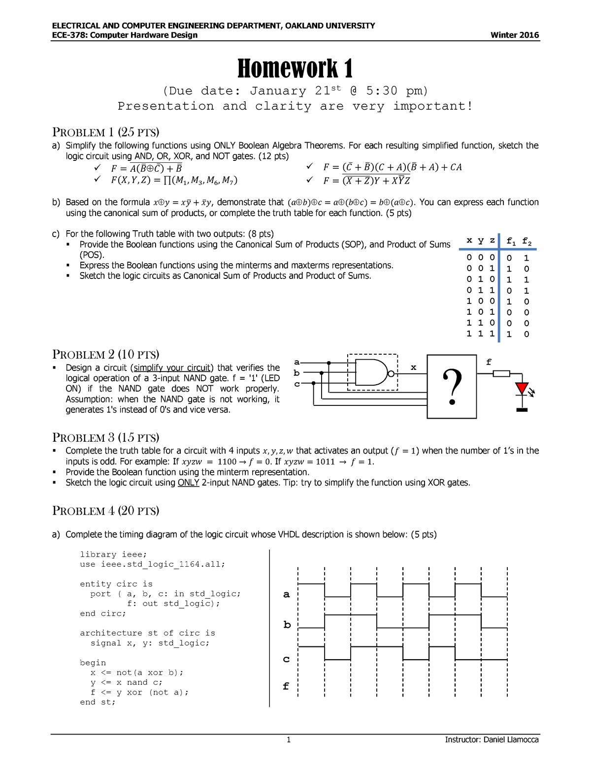 HW1, q + a - Homework assignment 1 - ECE 378: Computer