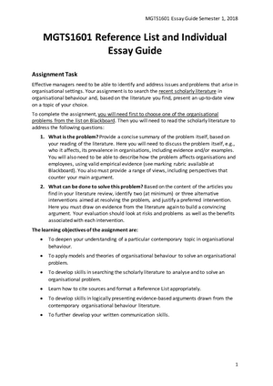 Mgts Reference List And Essay Guide Semester    Mgts  Mgts Reference List And Essay Guide Semester    Mgts Organisational  Behaviour  Studocu  Sample Of Research Essay Paper also Essay Paper Writing  Pay To Write Literature Review