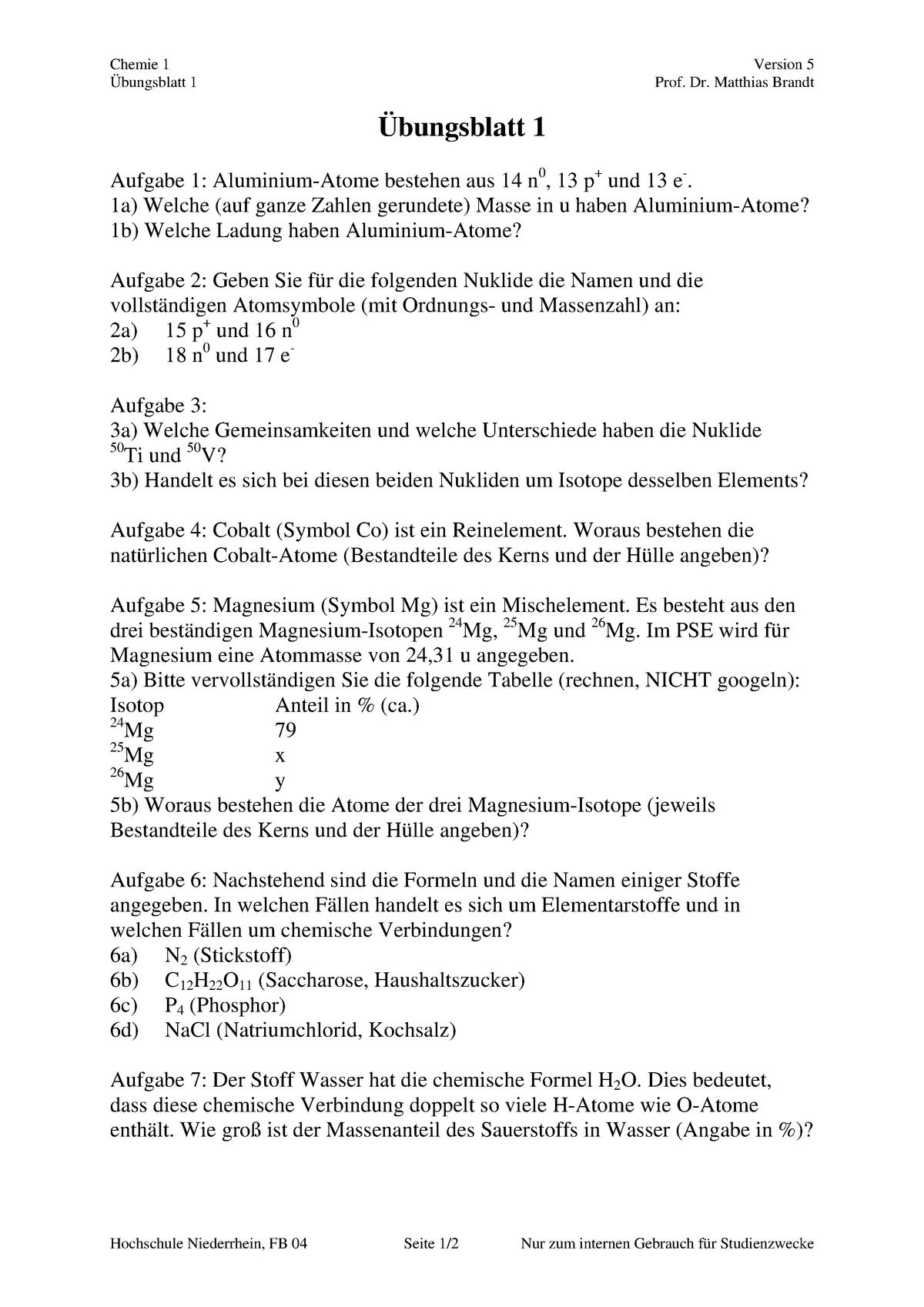 übungen übungsblätter Version 5 Chemie 1 Studocu