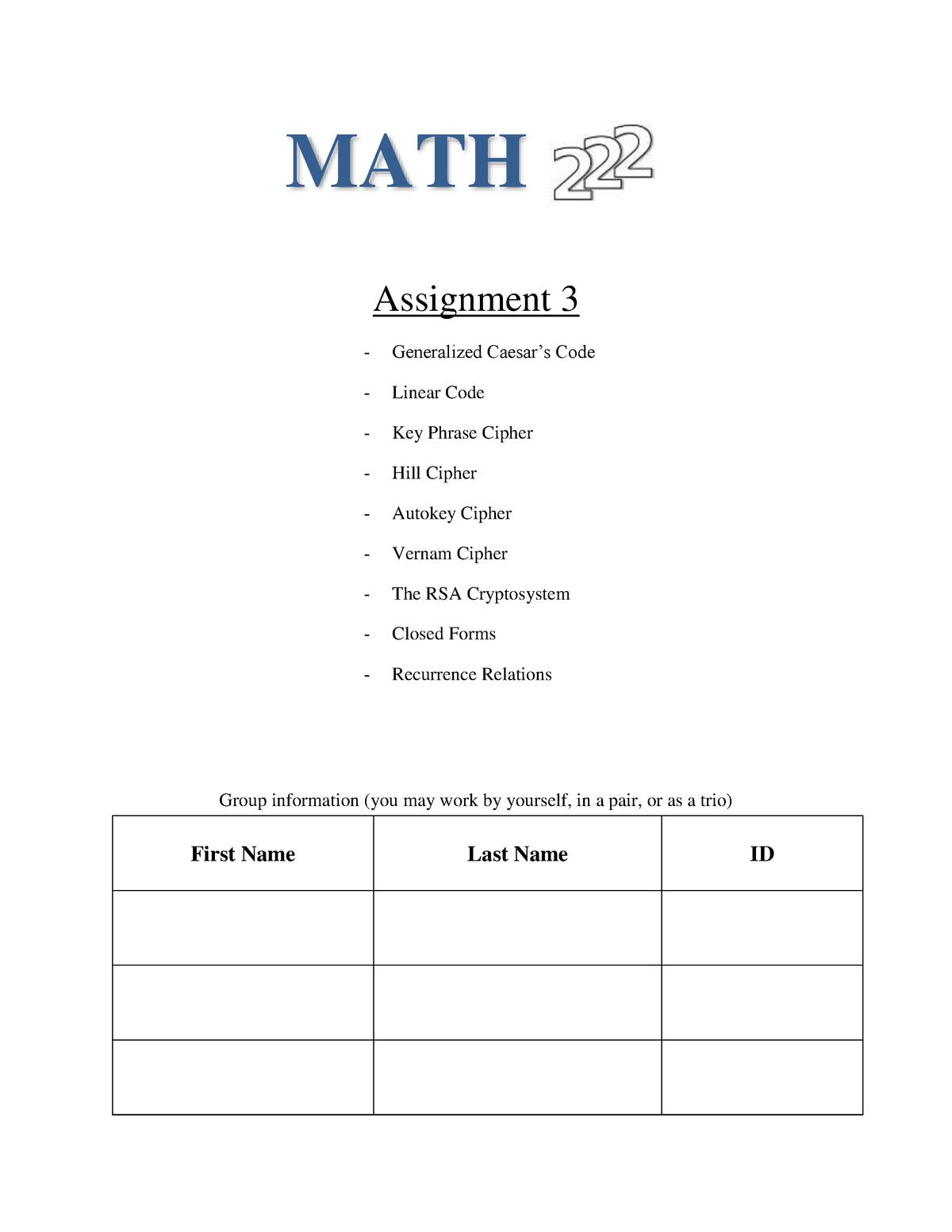 Assignment 3 - Professor Trevor Pasanen - Math222: Introduction to