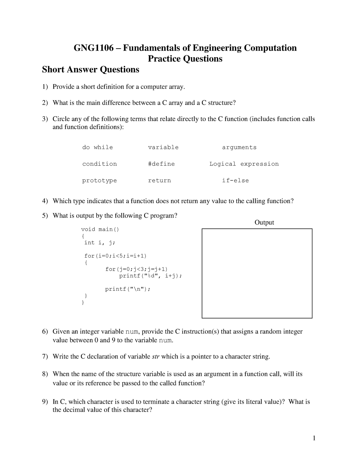 GNG1106Practice Questions - gng1106: Engineering Computation