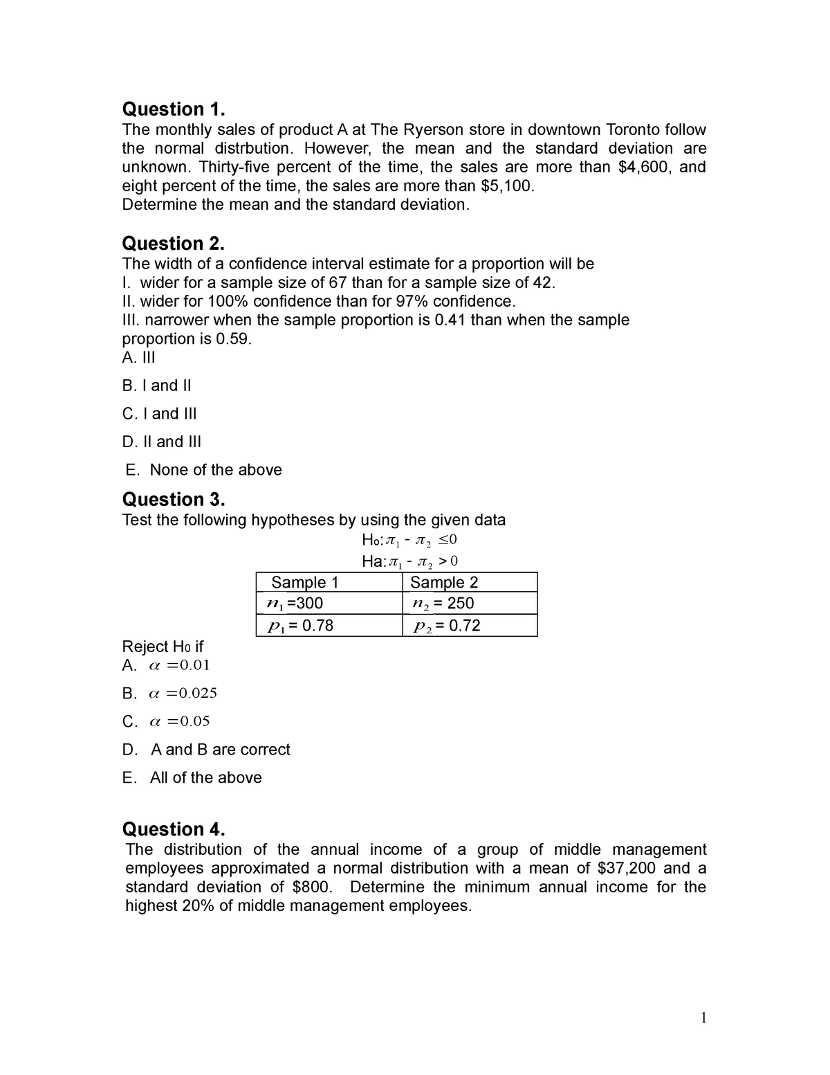 Exam 2014 - QMS 202: Business Statistics II - StuDocu