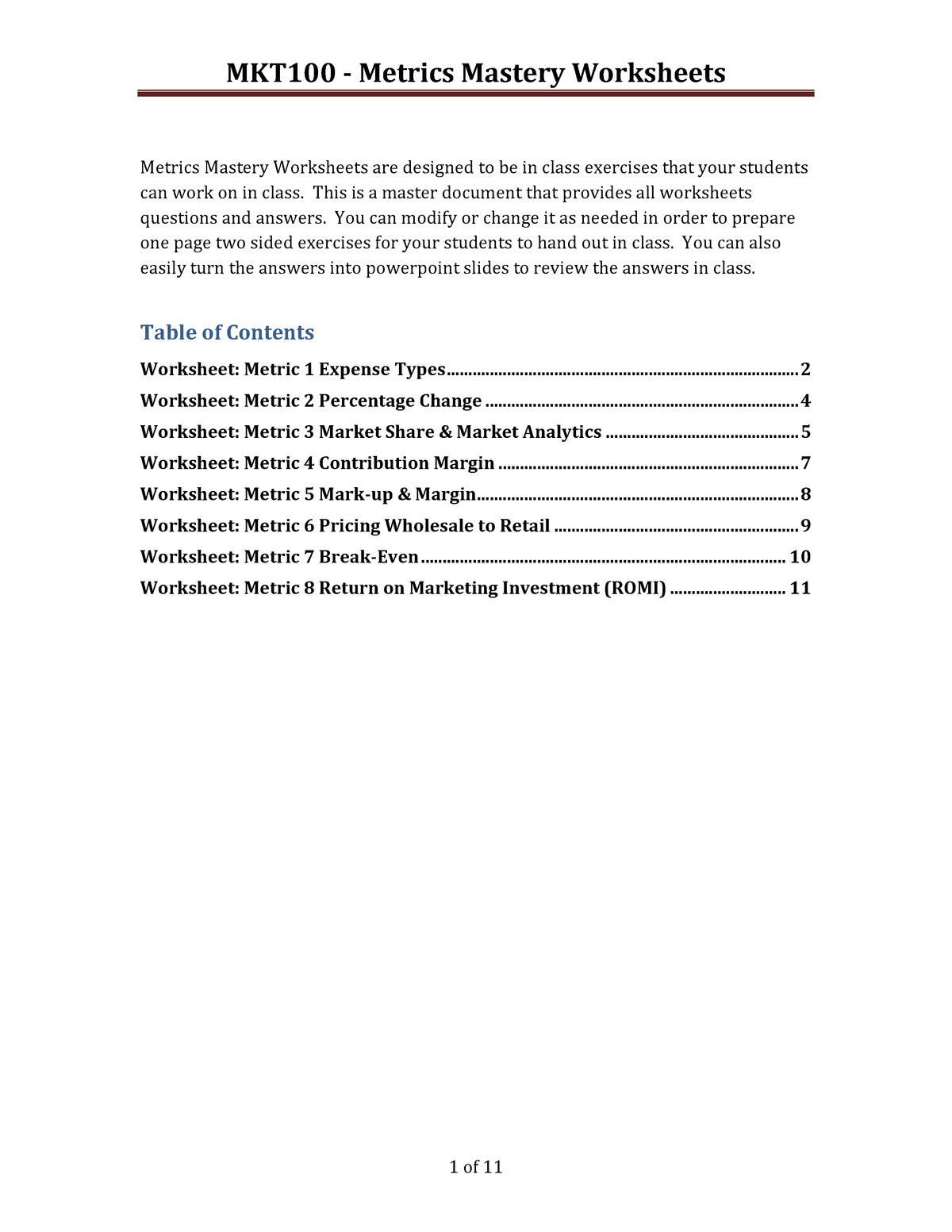 Practical - full metrics question sheet - Cmkt 100: Principles of