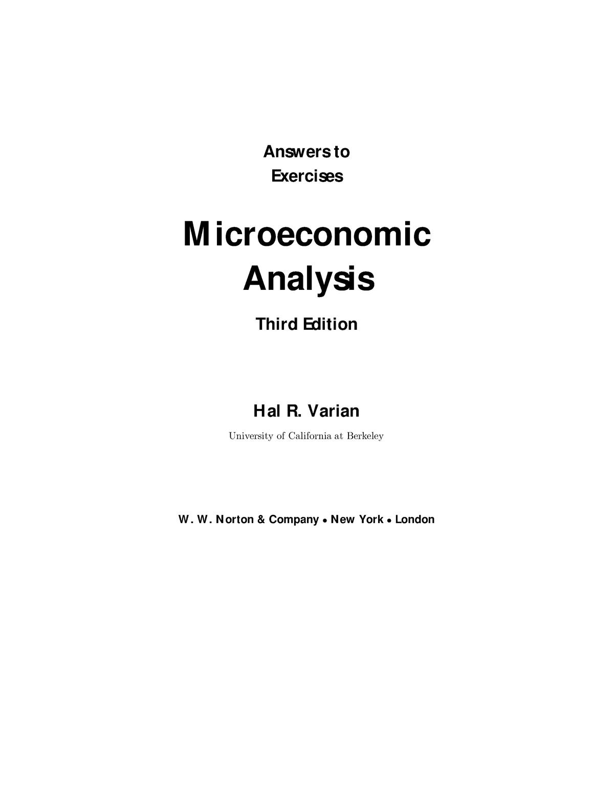Varian Microeconomic Analysis  Solutions - ECON-289 - StuDocu