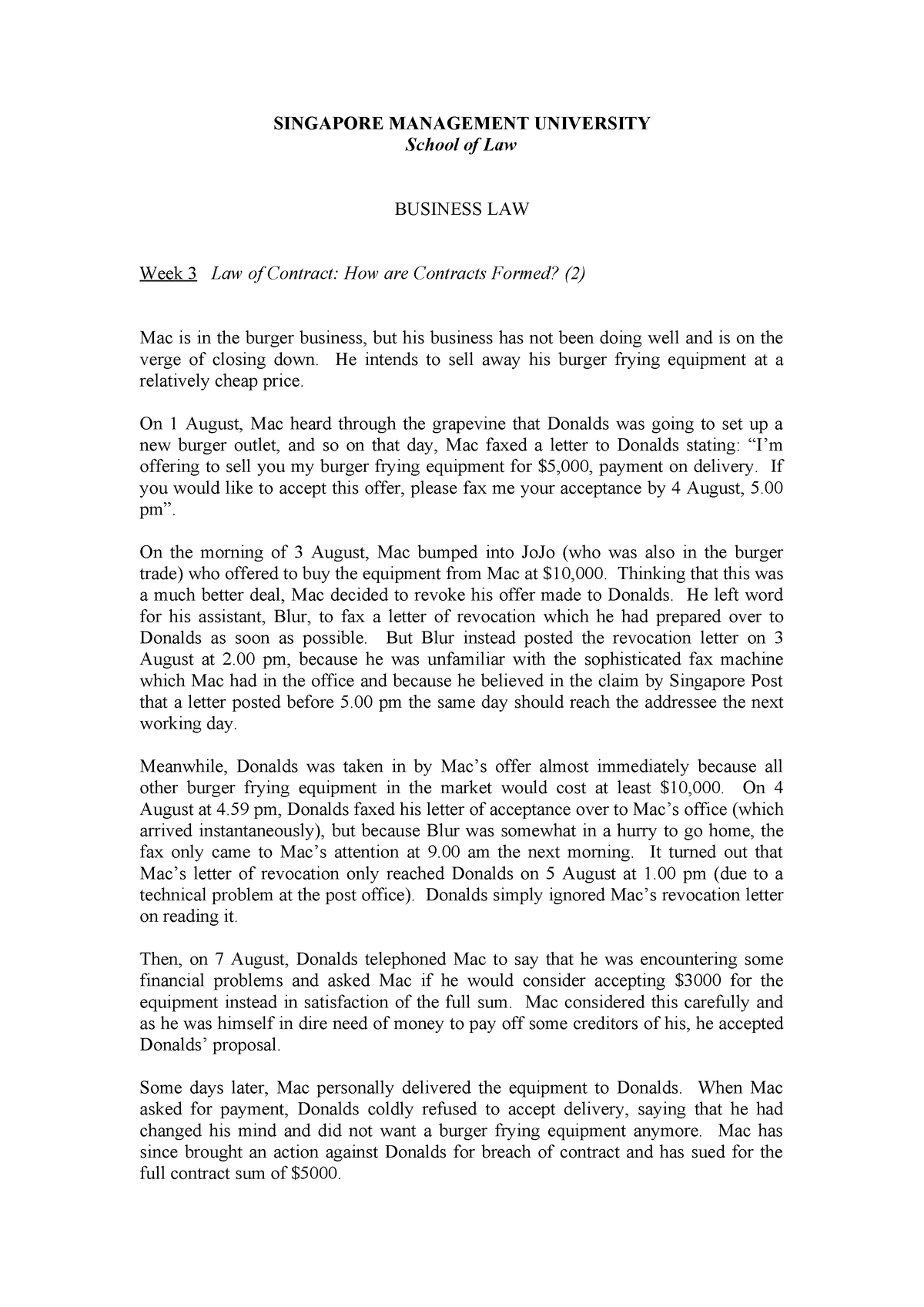 Week 3 Seminar Questions Answers - LGST101: Business Law