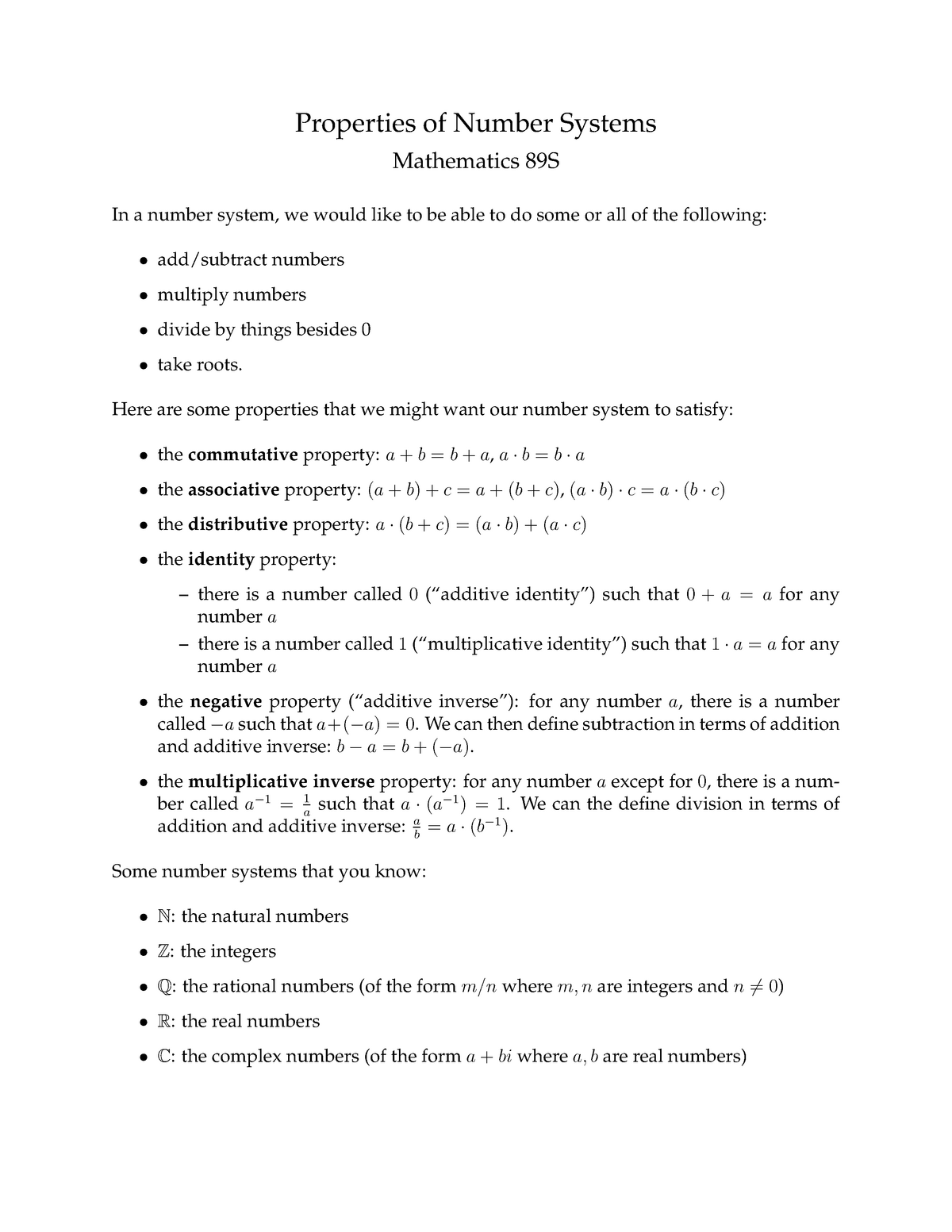 MATH89Snumbersproperties - MATH 89S The Magic of Numbers