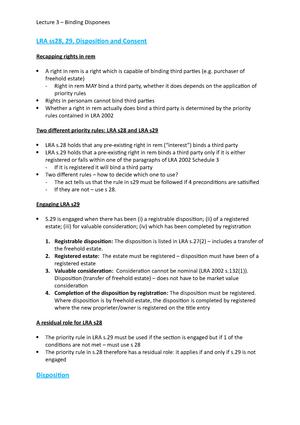 lecture 3 binding disponees law2017 land law studocu