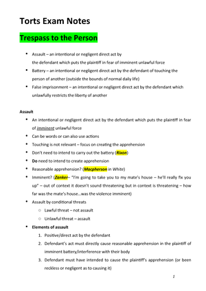 Torts-Exam-Notes - Torts exam notes with trespass to the