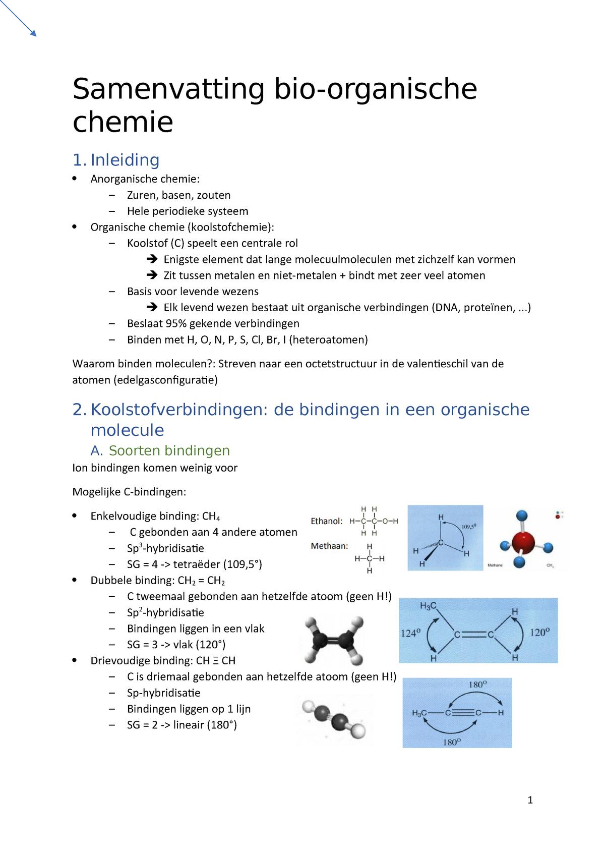 Samenvatting Bio Organische Chemie 1 17 18 Ap Studocu