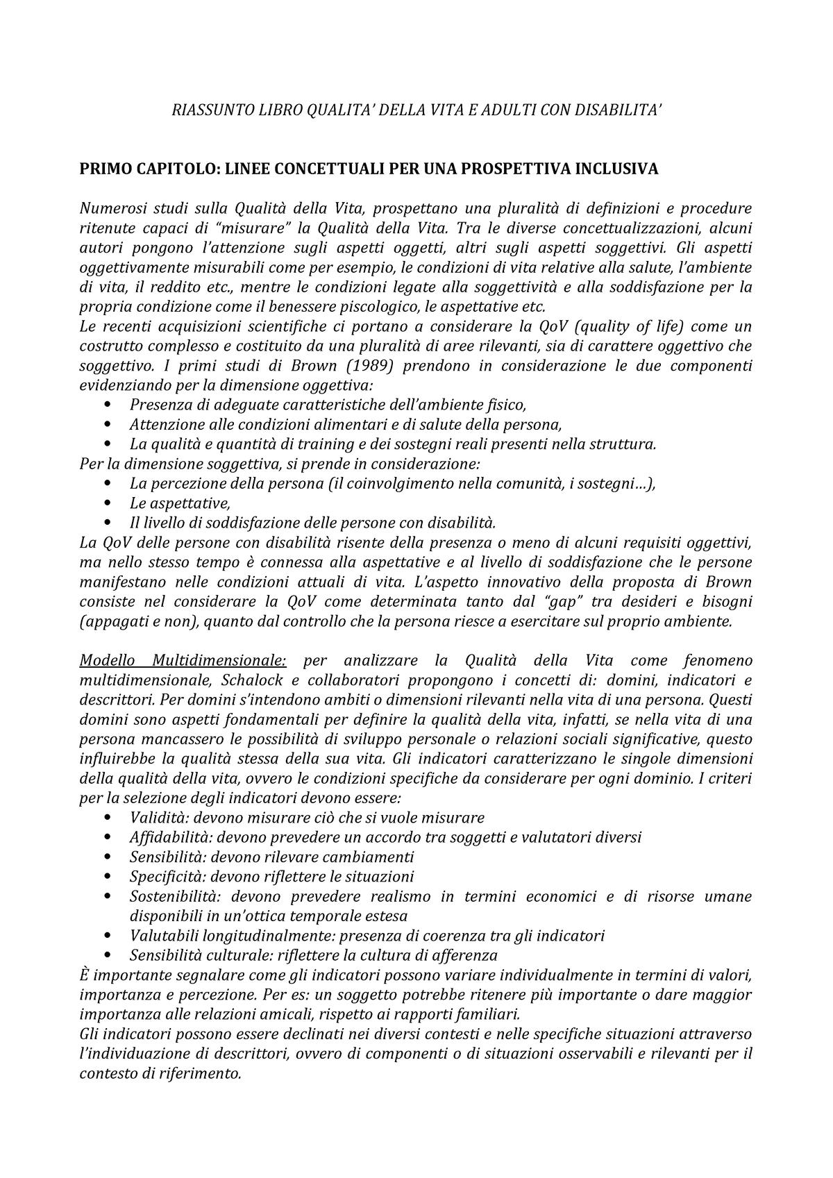 Riassunti Qualita Della Vita E Adulti Con Disabilita Studocu