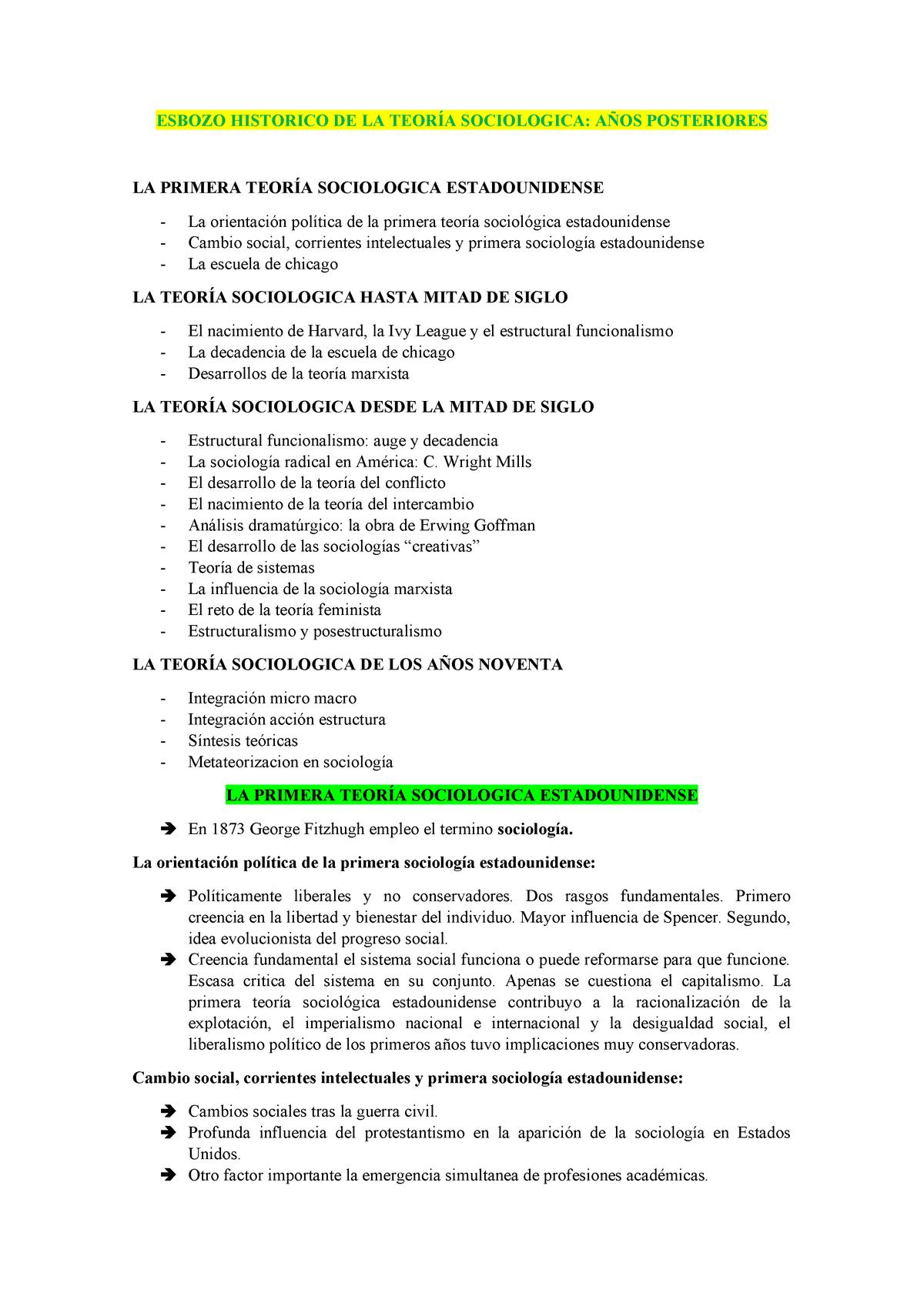 Ritzer Cap 2 Resumen Psicologia Epsi021 Uach Studocu