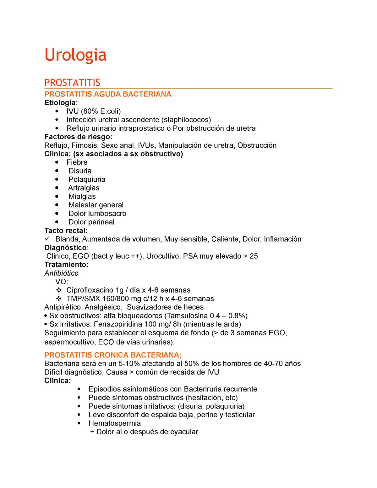 síntomas de prostatitis y psa