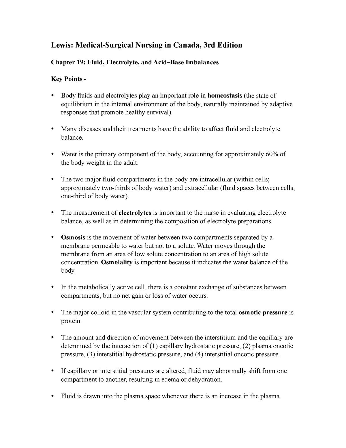 Fluid Electrolytes key points - Nursing Care/Episodic and