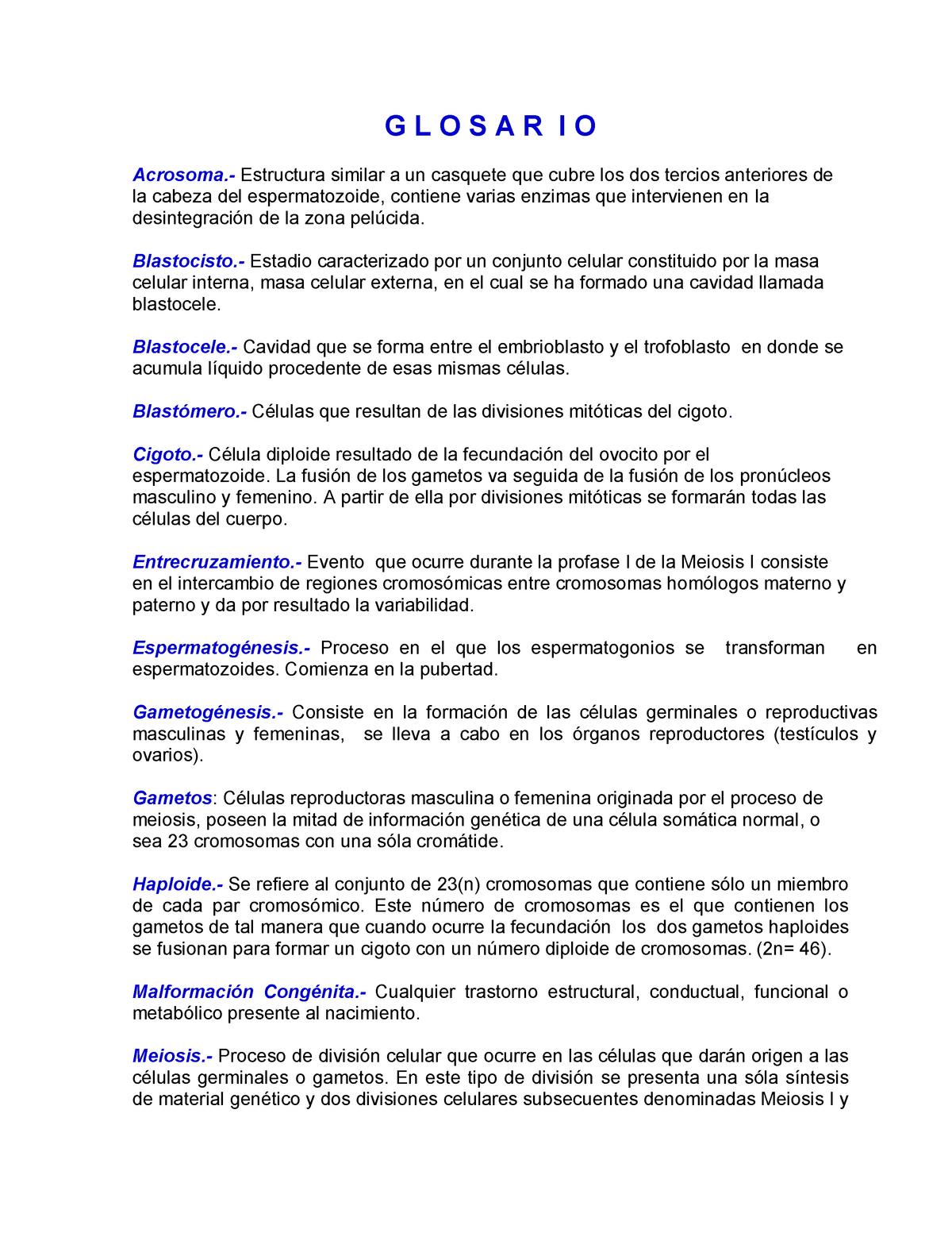 Glosarioembriología Embriología Y Fundamentos De Genética