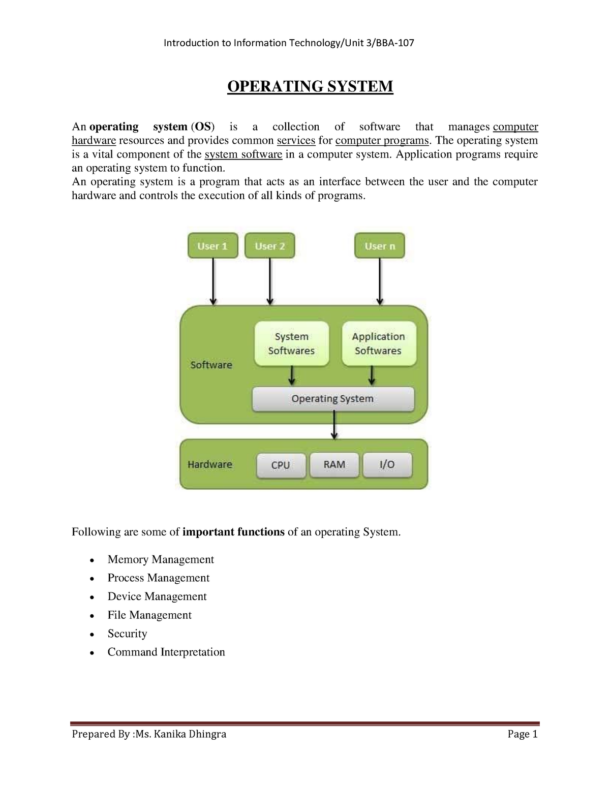 Operating system(unit 3) - BBA 109: Computer Applications - StuDocu
