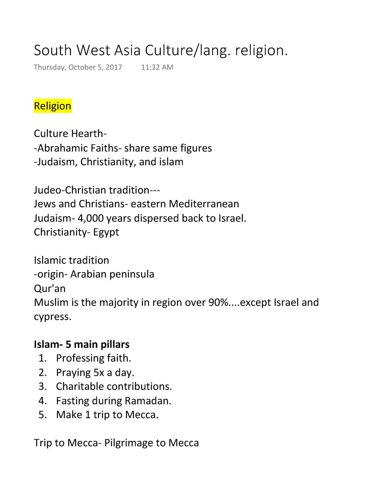 South West Asia Culture lang  religion - GEOG 100 : World
