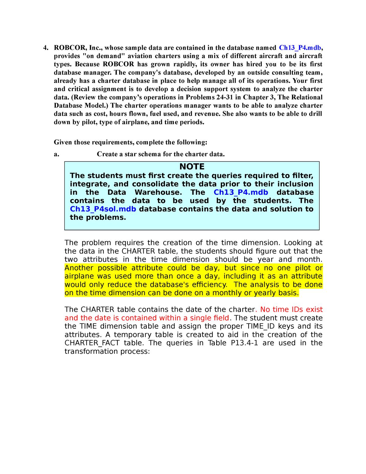 Solution Chap13 Problem 4 - ISOM 821: Data Management - StuDocu