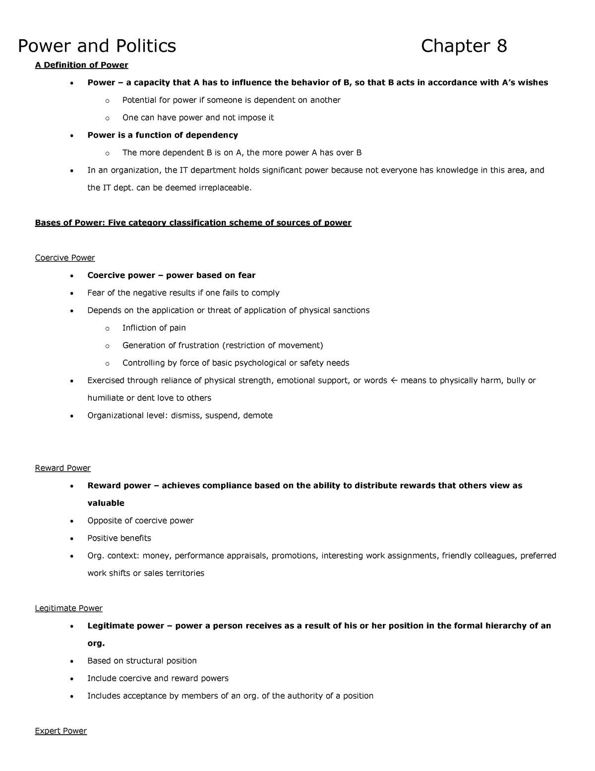 Summary Organizational Behaviour - chapters 8-11 - COMM 292
