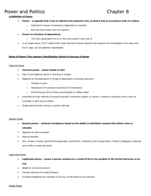 Summary Organizational Behaviour - chapters 8-11 - COMM 292