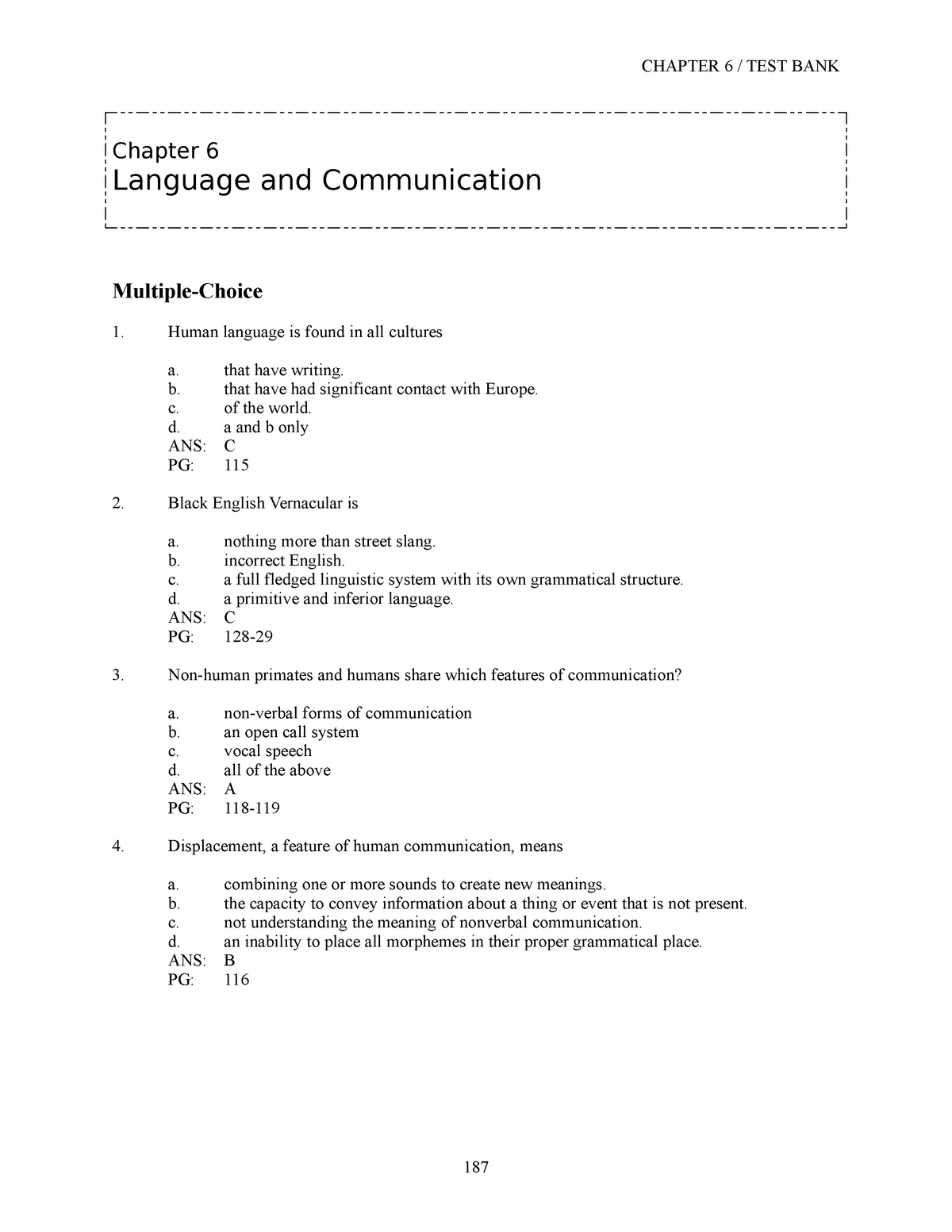 Sample/practice Exam 2014, Questions and Answers - Chapter 6