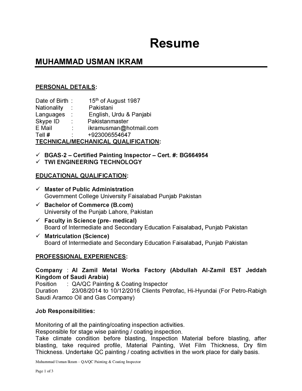 Muhammad Usman Ikra(QC Coating inpsector) - WORK6117