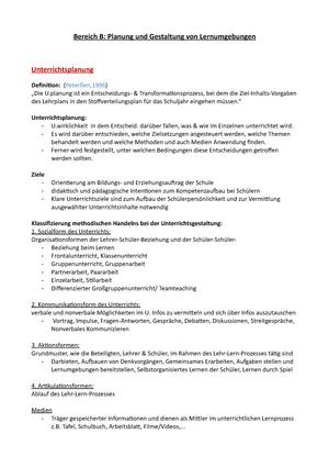 Bereich B Planung und Gestaltung von Lernumgebungen 1 - Einführung ...