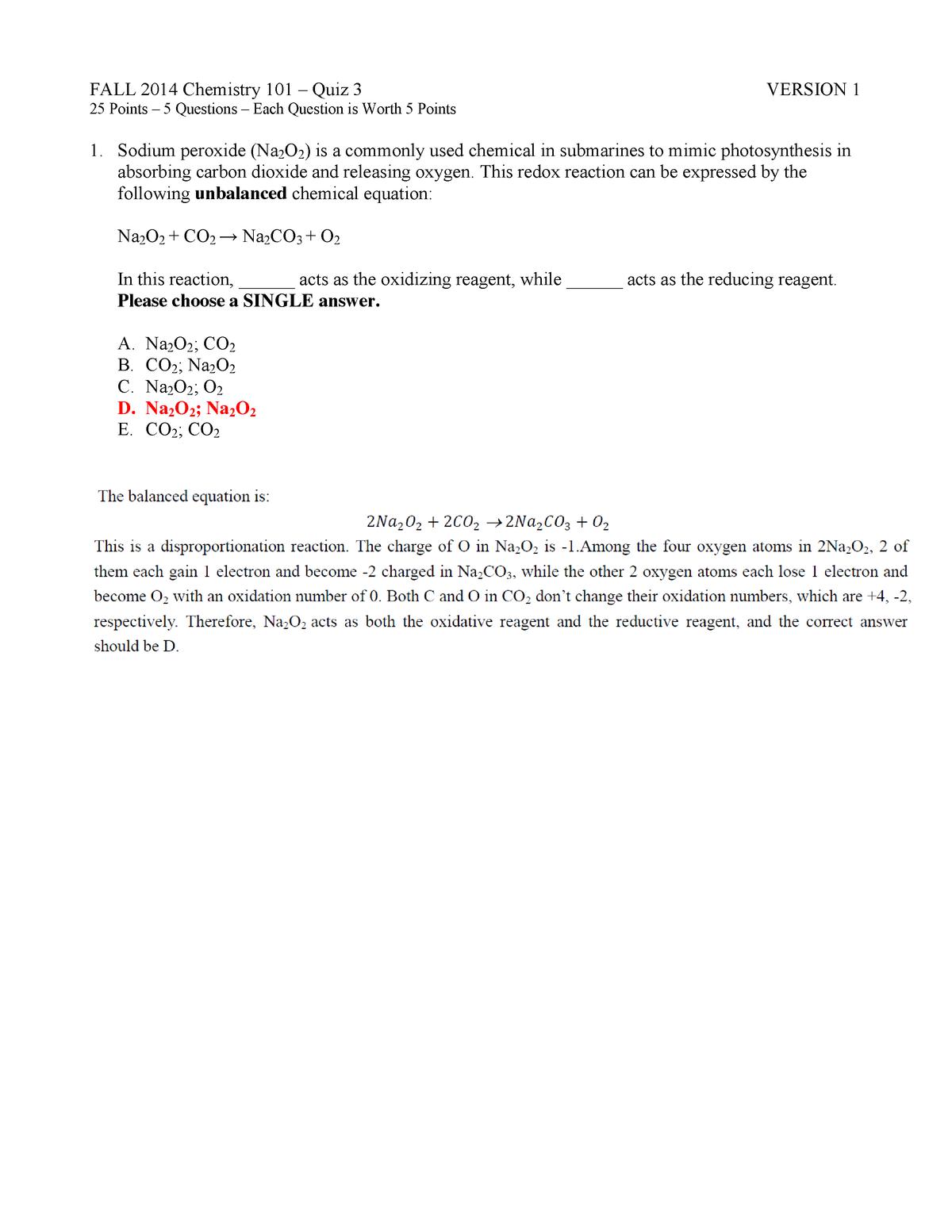 Quiz 3 Key - quiz 3 answers - CHEM 101 General Chemistry ...