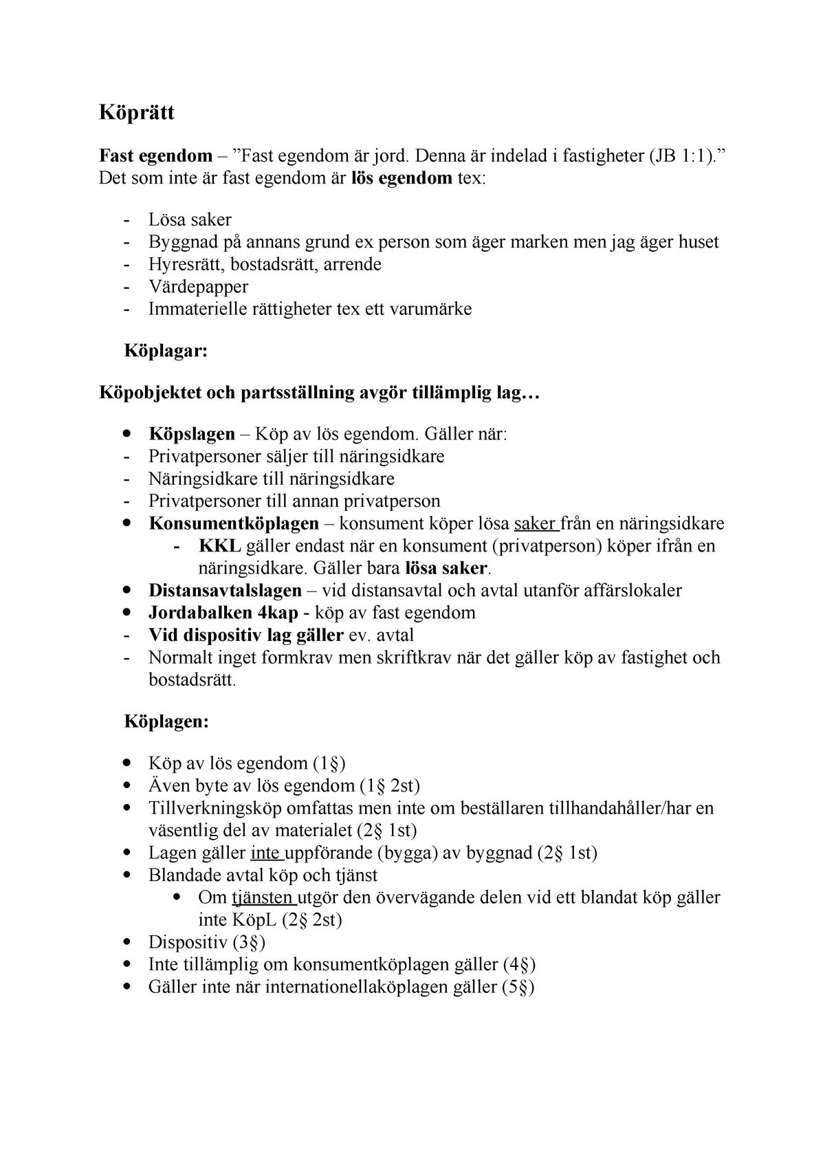 Köprätt föreläsningsanteckningar 7 RVGA01 StuDocu