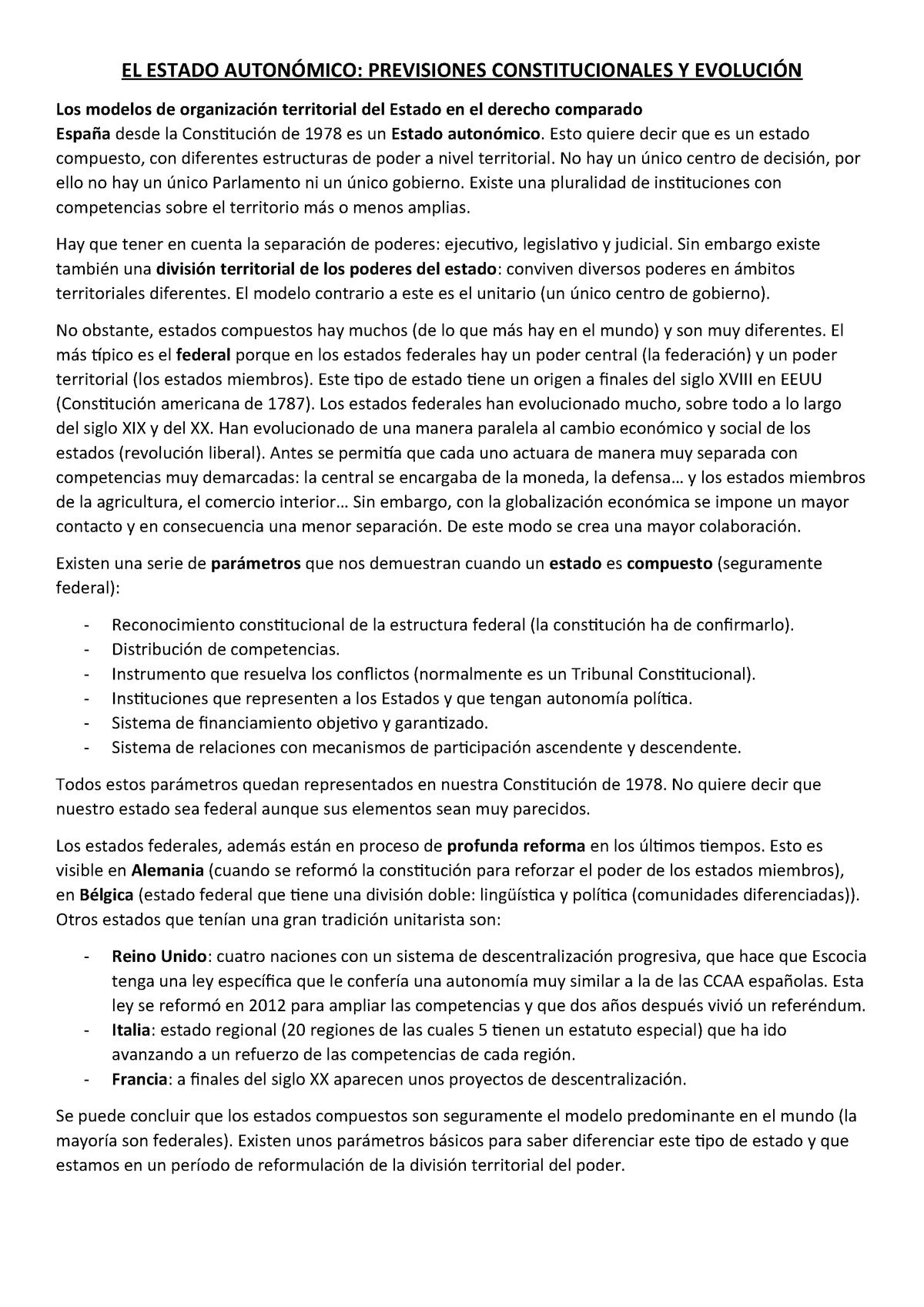 Ote Tema 1 Apuntes 1 Organització Territorial De L Estat