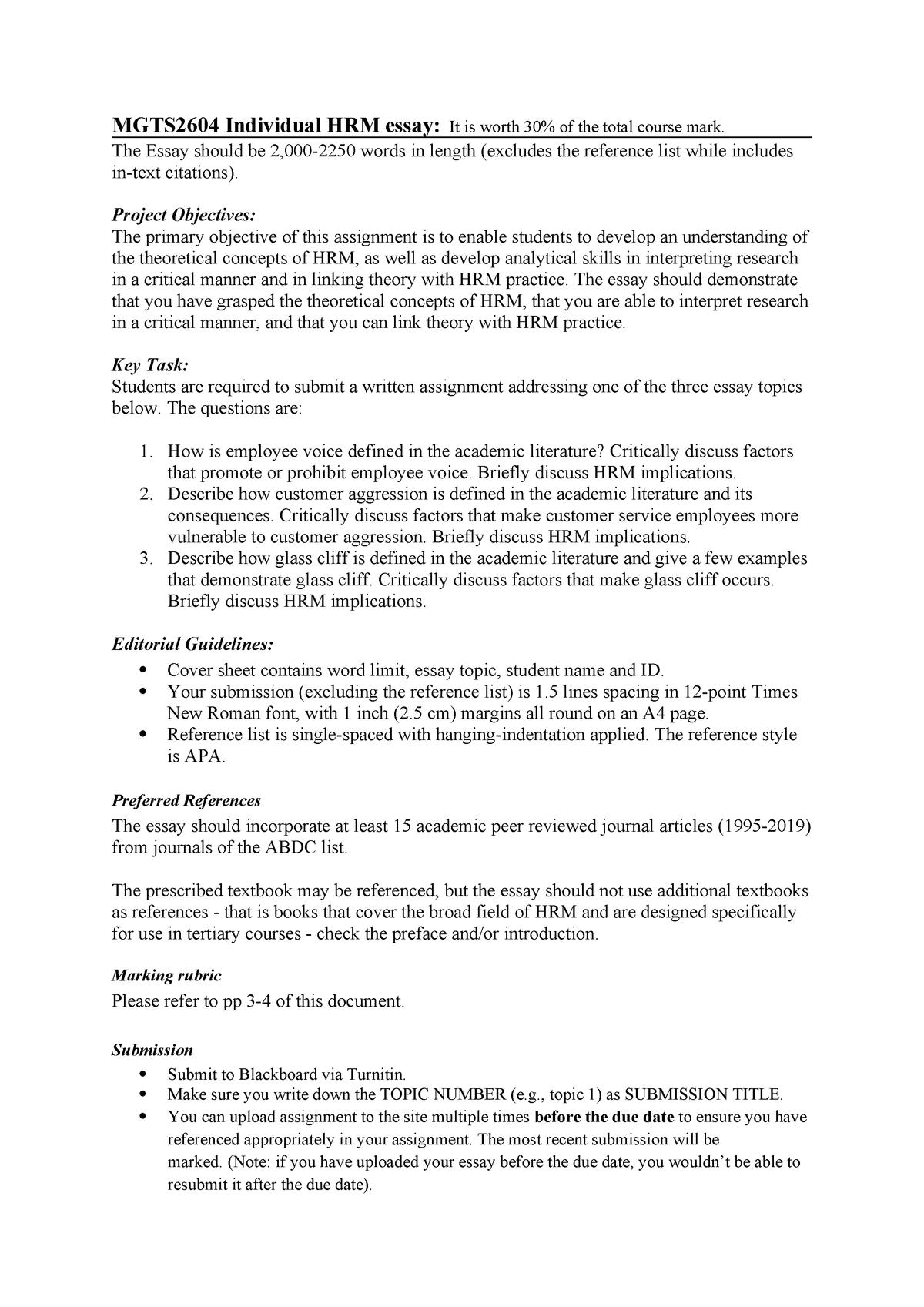 hrm essay mgts hrm essay task description and marking rubric