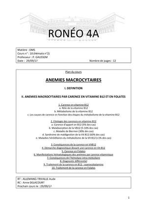 OMS 10 - Prise de note des cours d'UE1 Oncologie et Maladies du Snag ...