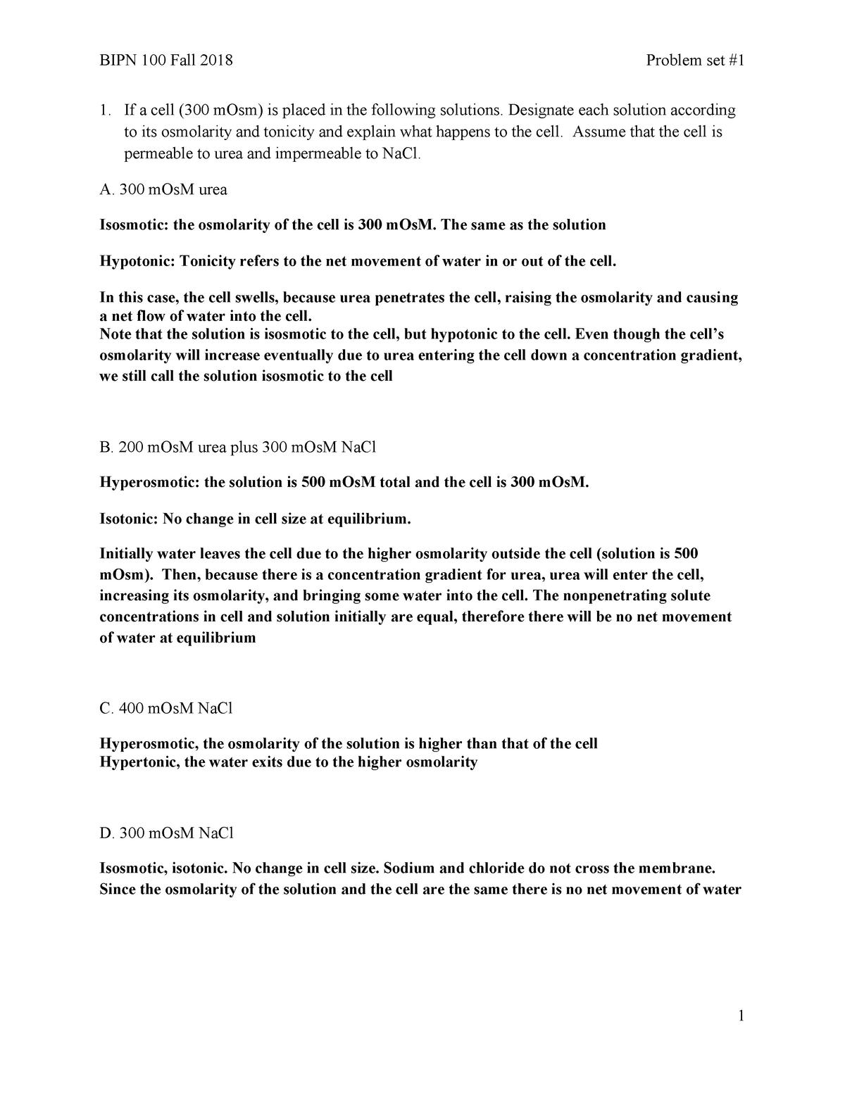 Problem Set 1 solutions - BIPN 100 Human Physiology I - UCSD