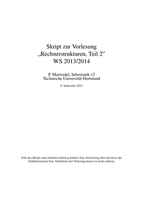 Rs2 - Zusammenfassung Rechnerstrukturen - Rechnerstrukturen