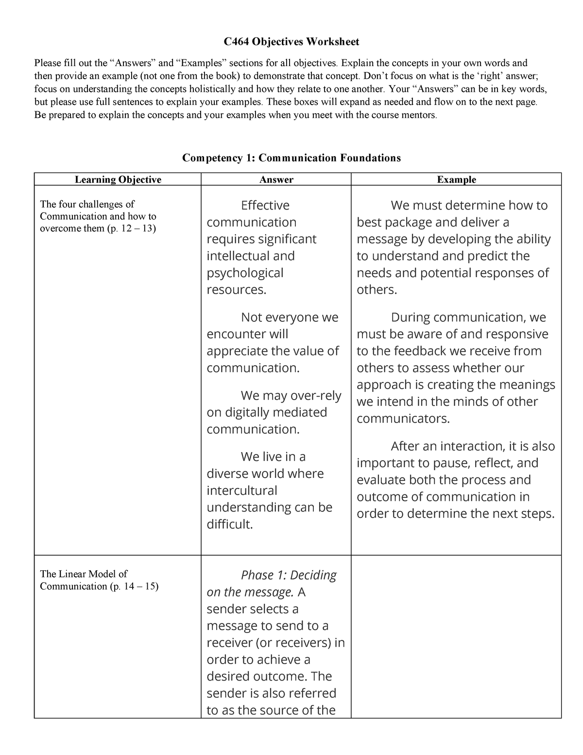 C464 Objectives Worksheet (Repaired) - C464: Introduction to
