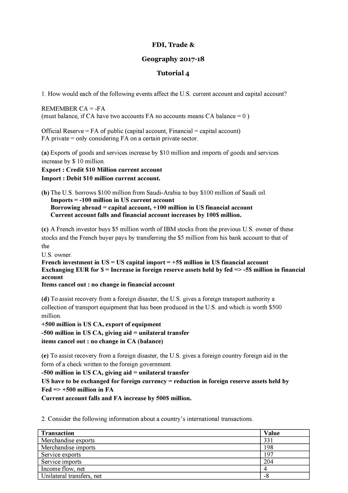 FDI Tutorial 4 Questions + Answers - EBB037A05 - RUG - StuDocu