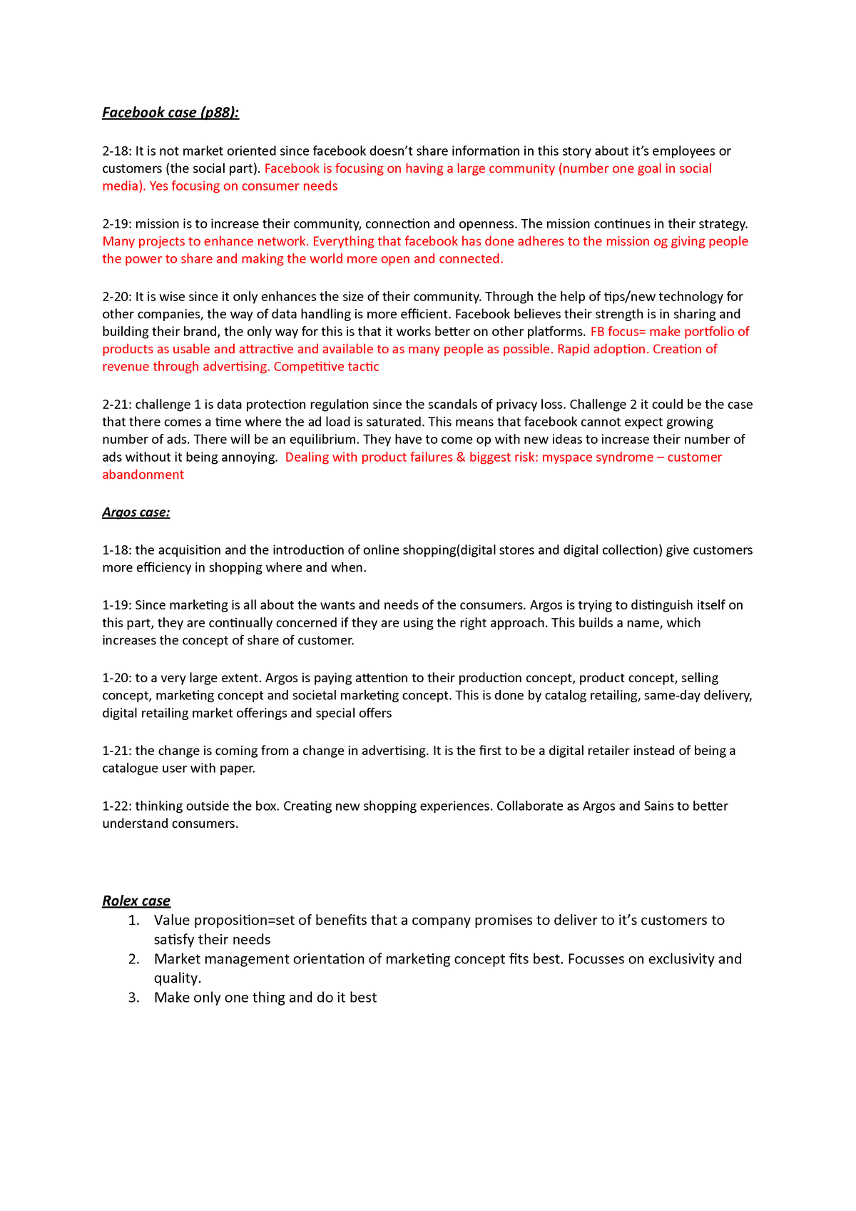 Facebook case + Argos case week 1 - ECB2MKT: Marketing - StuDocu