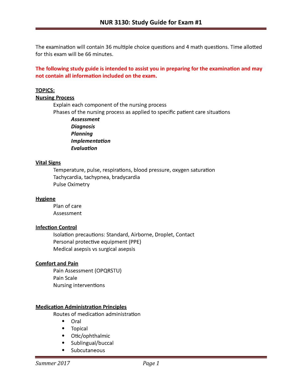 Exam 1 Study Guide - NUR3130 Foundations - NSU - StuDocu