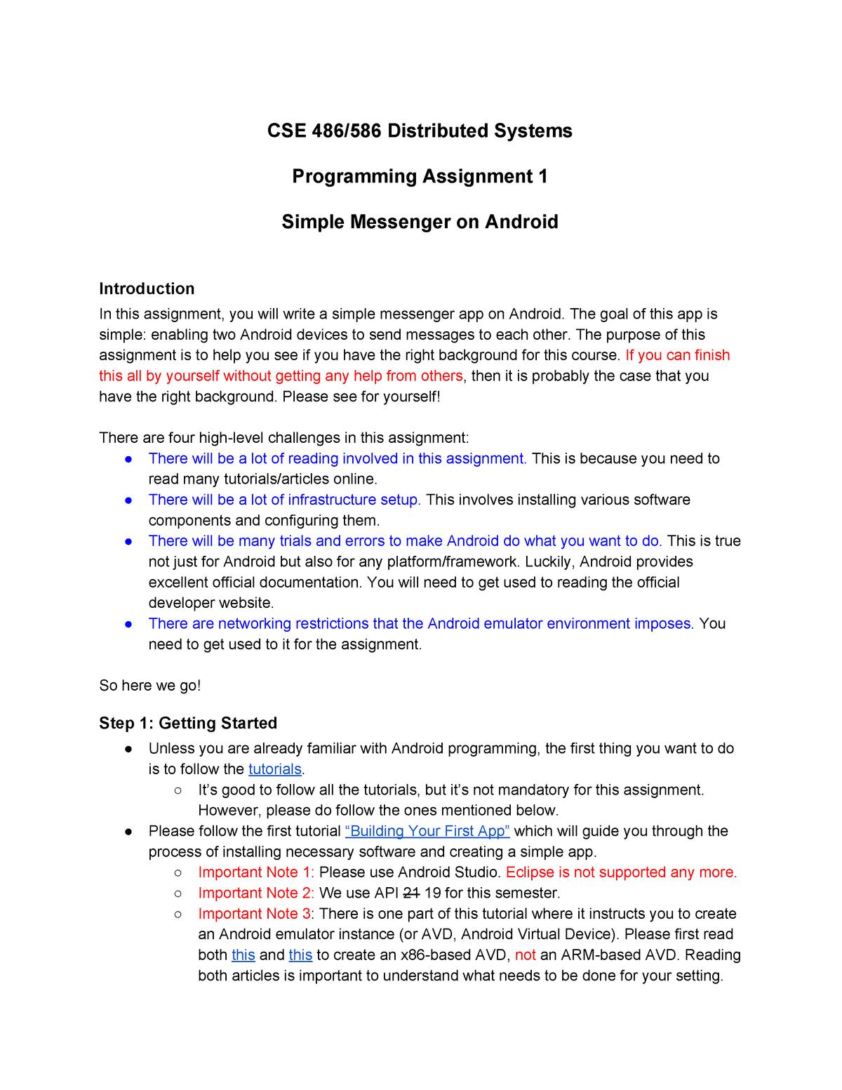 Programming assignments 1, 2A, 2B, 3 & 4 - CSE 486 - UB