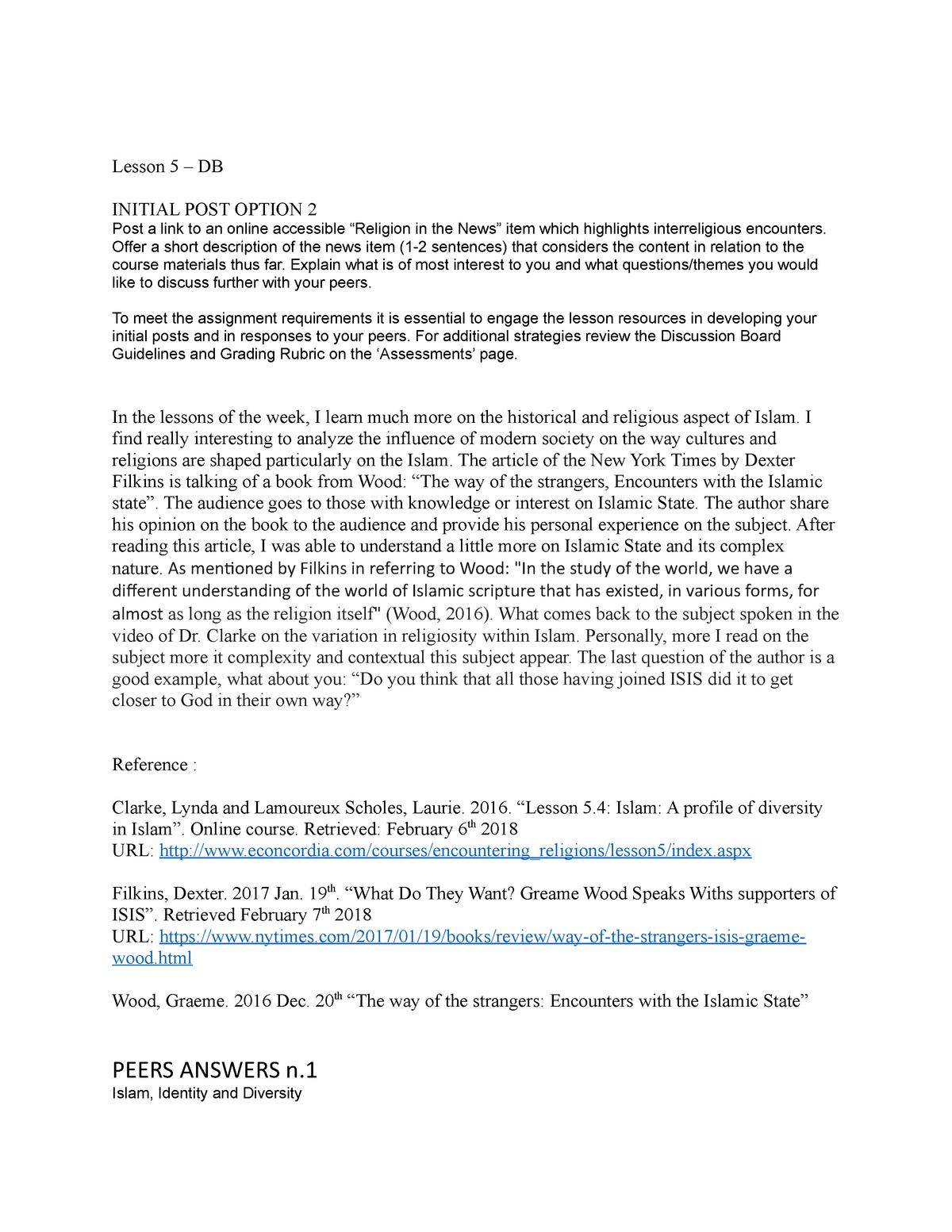 RELI216 L5 DB - Discussion Board Lesson 5 - RELI 216